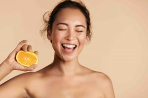 healthy skin with oranges